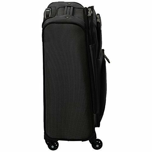 "Carry On 20"" Suitcase Luggage Black Spinner Expandable Four Wheels United Delta"
