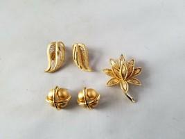 Monet Vintage Signed Gold Tone Earrings Avon Lotus Brooch & Bonus Earrings - $55.79