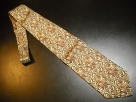 Joseph Abboud Neck Tie Green Background with Golds Browns Rusts Paisley Italian - $12.99