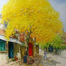 "Autumn noon,  30:""x32"" Vietnamese hand painted ... - $299.95"