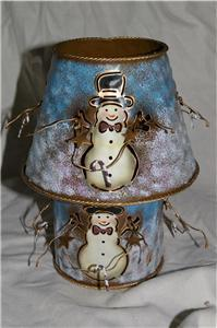 Home Interiors Metal Snowman Candle Holder Shade Homco