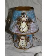 Home Interiors Metal Snowman Candle Holder Shade Homco - $10.99
