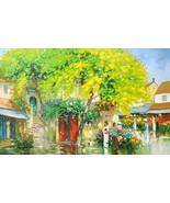"Flower Market at corner street, a 24""""x38"" commission original oil painting - $399.95"