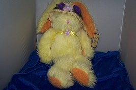Prima Classic Easter Bunny With Straw Hat Purple Flowers - $5.99