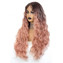 Long Wavy Lace Front Wigs For Women 24 Inch Deep Wave Wig Ombre Pink Synthetic F