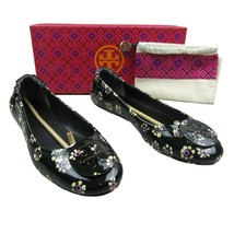 Tory Burch Minnie Travel Ballet Flats Size 8.5 Black Stamped Floral New ... - $133.60