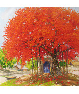 Old tree by the Lake, Vietnamese hand painted oil painting - $199.95