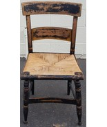 Antique Wooden Side Chair - Slat Back - Woven Seat - VERY OLD COLLECTIBL... - $98.99