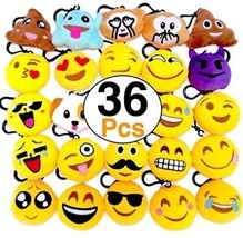 OHill 36 Pack Emoji Plush Pillows Mini Keychain Decorations Birthday Party, - $37.82