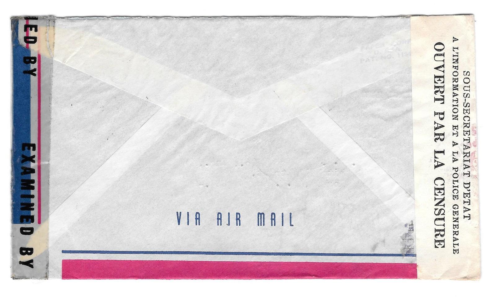 1945 Haiti Double Censored Air Mail Cover Port au Prince to US Sc RA4 366 C26