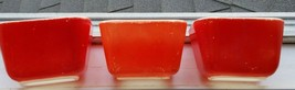 3 Vintage Pyrex Red Refrigerator 501-B Small Baking Dishes - $11.83