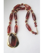 Napier Faux Tortoise Long Necklace c. 1970s - $75.00