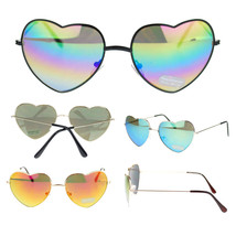 Girly Womens Cute Love Color Reflective Mirror Lens Heart Shape Metal Sunglasses - $7.87+