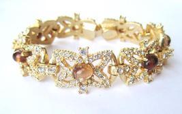 Hattie Carnegie Faux Topaz Cabochon Bracelet c. 1950s - €148,26 EUR