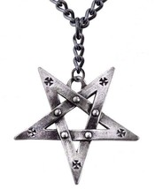 Pentagration Large Pentagram Iron Cross Talisman Pendant Alchemy Gothic P623 - $29.95
