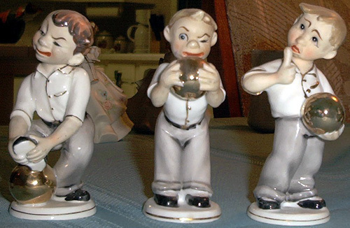 Lefton China 3 bowler figures # KW005  They're darling