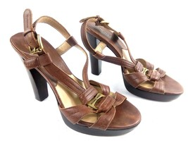 Michael Kors Women's Brown 6M Open Toe Leather Sling Back Heels Strappy... - $39.42