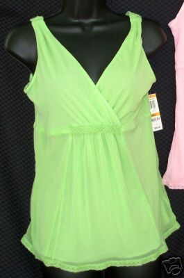 Primary image for New $26 ALFANI sz Small Camisole Sleep Tank Top ivy green mesh S