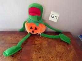 """Muppet Kermit Frog Pumpkin Halloween Plush 20"""" Jack O Lantern 90s? - $34.95"""