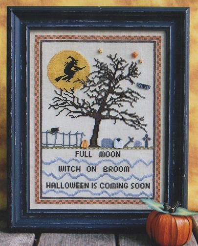 Primary image for Full Moon Witch halloween cross stitch chart Annalee Waite Designs
