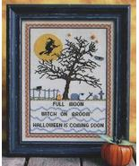 Full Moon Witch halloween cross stitch chart Annalee Waite Designs - $9.00