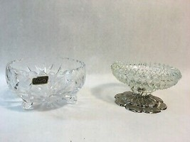 Violetta Handcut Crystal Footed Compote Bowl Made in Poland & Glass Ashtray - $28.66