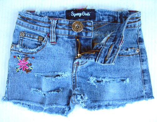 Girls DESTROYED Denim Mini SHORTS Jeans 7 M Stretch Cotton Spandex Blue Squeeze