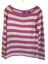 Tommy Hilfiger Tommy Girl Womens Sweater Purple Gray Stripe Zipper Back ... - $24.11
