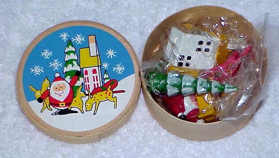 Vintage Santa & Reindeer Scene Tiny Wood Set IOB - NOS