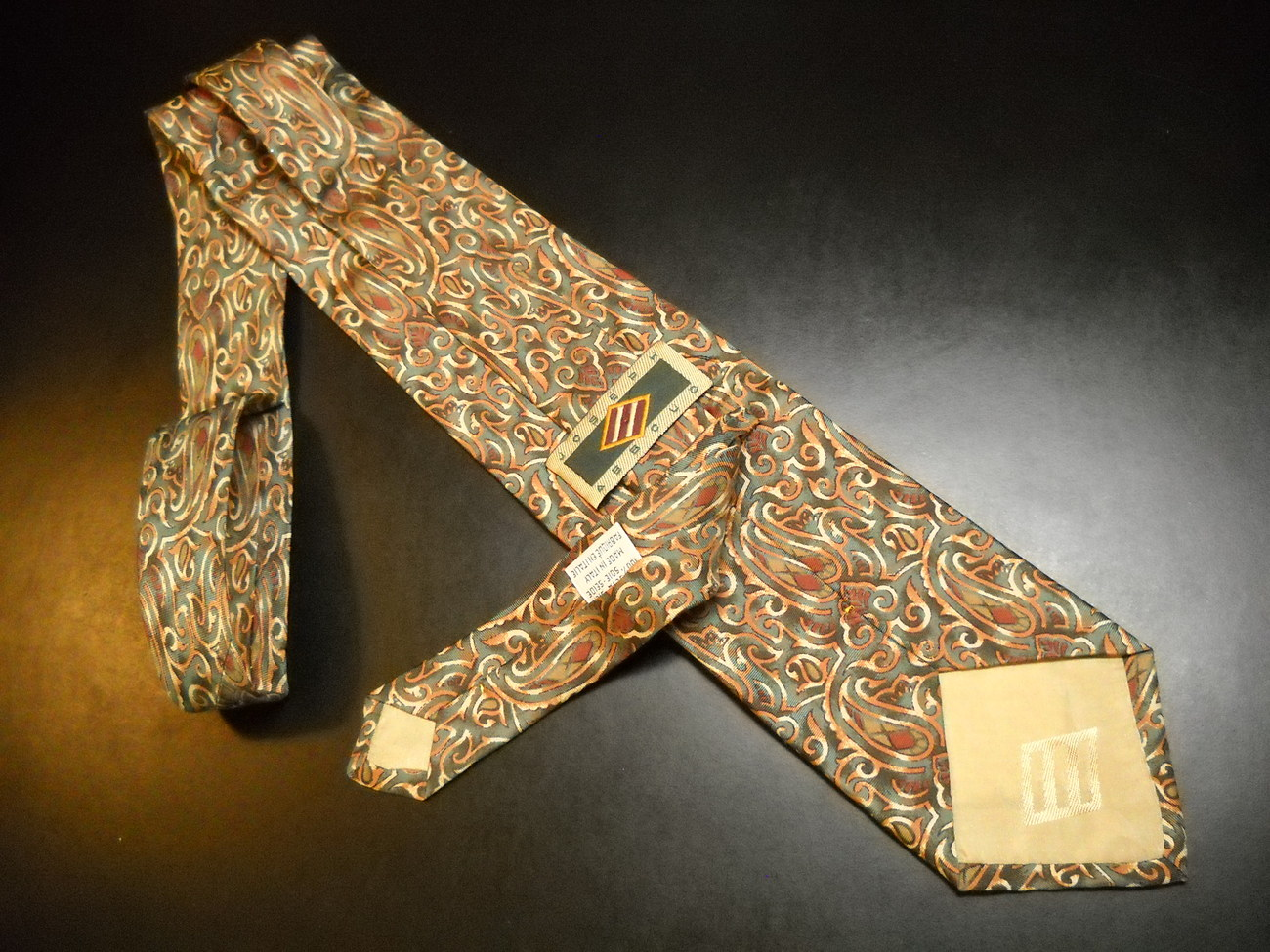 Joseph Abboud Neck Tie Green Background with Golds Browns Rusts Paisley Italian