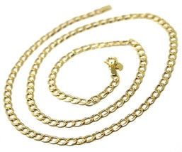 """9K GOLD GOURMETTE CUBAN CURB LINKS FLAT CHAIN 4mm, 60cm, 24"""", BRIGHT NECKLACE image 2"""