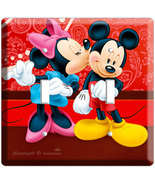 MICKEY MOUSE & MINNIE KISSING DOUBLE LIGHT SWITCH PLATE - $11.99