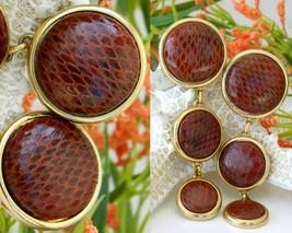Vintage Snakeskin Earrings David Grau Spain Large Round Dangles Clips - $49.95