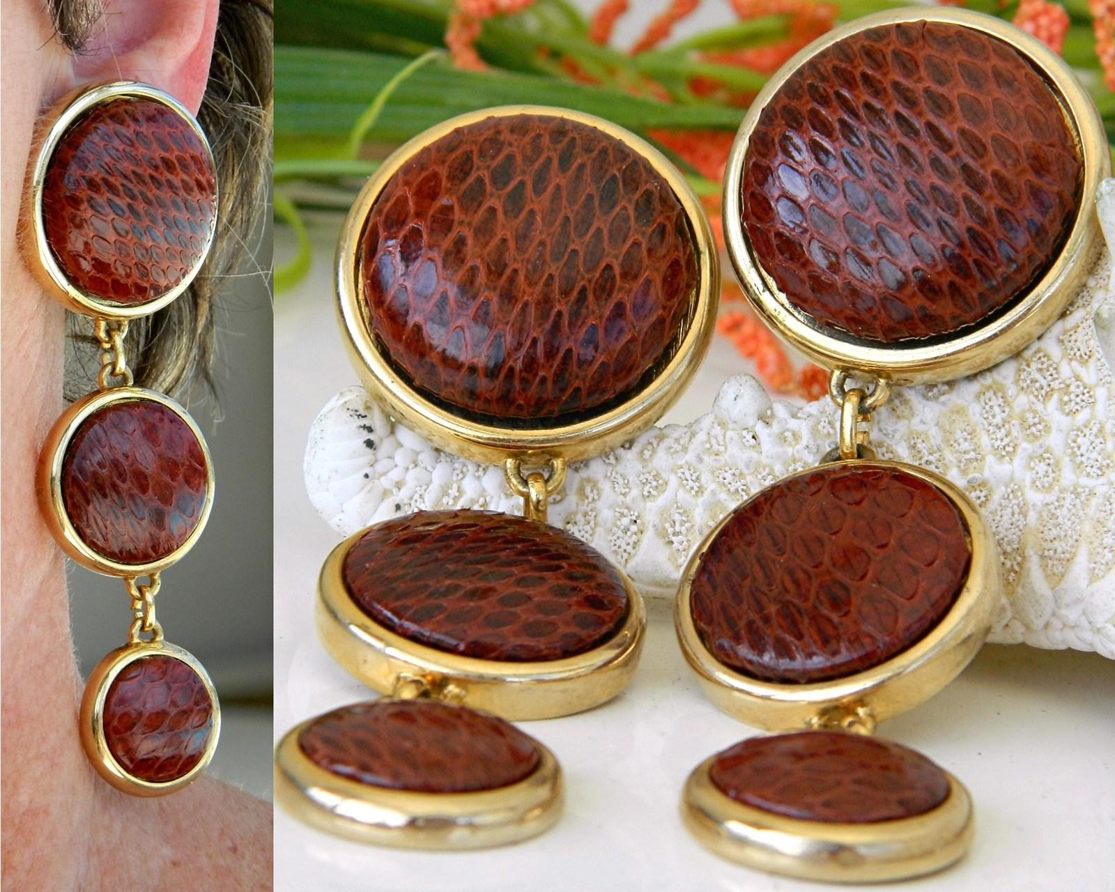 Vintage Snakeskin Earrings David Grau Spain Large Dangles