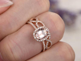 14K Rose Gold Over Silver 6x8MM Oval Morganite Engagement Bridal Ring Set - $116.79