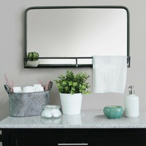 Chic Style Long Rectangular Metal Wall Mirror With Shelf In Gunmetal Finish - $117.59