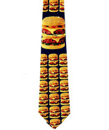 Cheeseburger Men's Necktie Fast Food Hamburger Novelty Burger Blue Neck Tie - $15.79