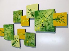 Contemporary Abstract Square Wall Sculpture 2pc Green Yellow - $129.99