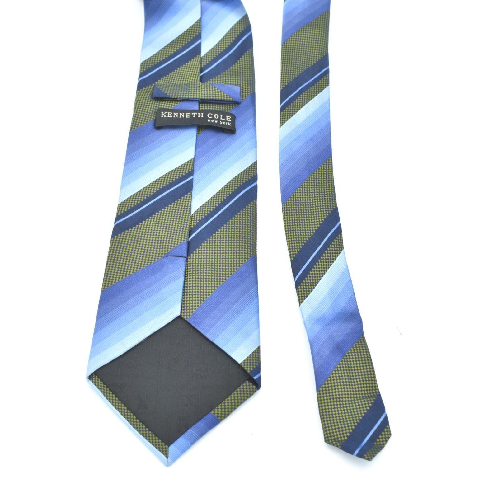 Kenneth Cole Blue Green Diagonal Stripes Silk Tie Necktie image 3