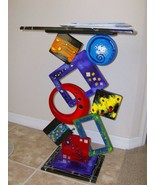 Crazy Vibrant Funky Abstract Entrance Table wood Sculpture - $749.99