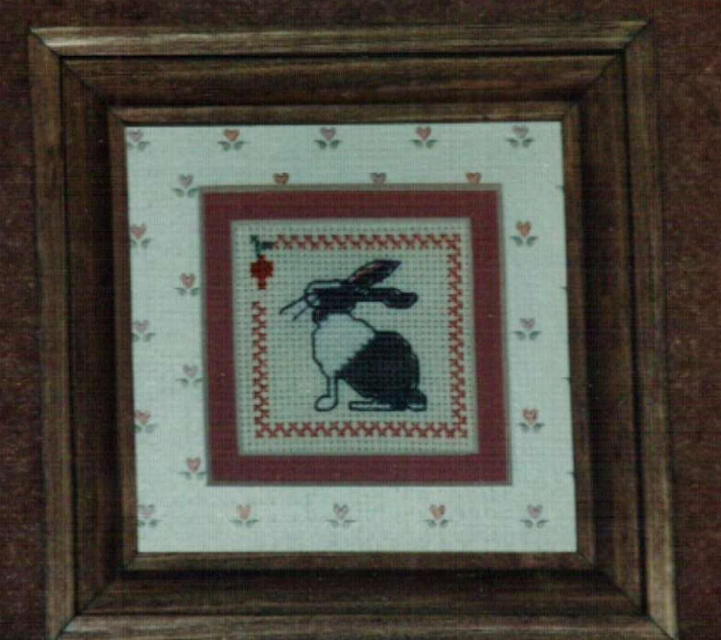 Mini Rabbit Ornamat cross stitch chart with double mat Dunfield Inc 4x4