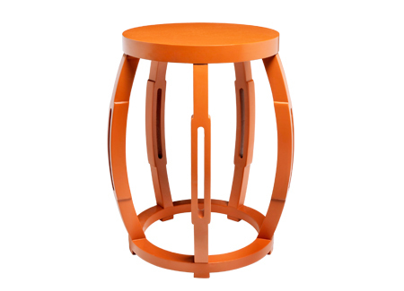 Orange Lacquer Taboret Solid Wood Side Or End Table Stool