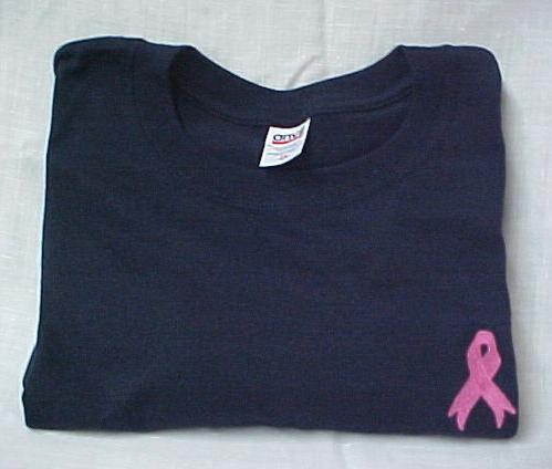 Breast Cancer T-Shirt M Pink Ribbon Navy Blue Crew Neck S/S Unisex Blend New
