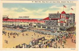 Curteich, White Border, Linen Postcard, Steel Pier, Atlantic - $6.00