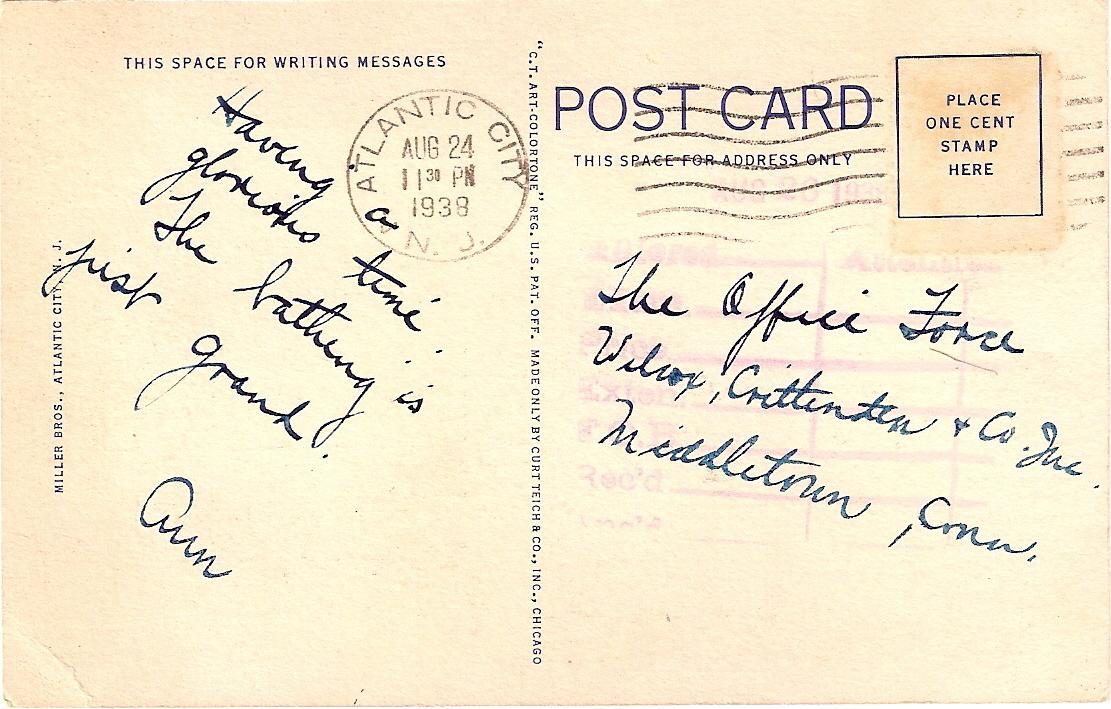 Curteich, White Border, Linen Postcard, Steel Pier, Atlantic