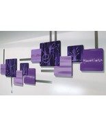 Contemporary Abstract Purple Geometric Square Wall Sculpture 2pc LARGE h... - $399.99