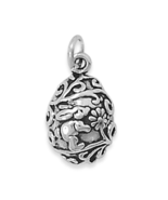 Sterling Silver Easter Egg Charm with Bunny and Flowers Design - $24.95