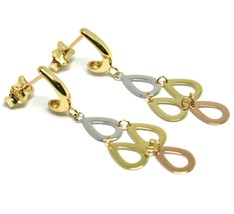 18K YELLOW WHITE ROSE GOLD PENDANT EARRINGS, FLAT DROPS, 1.4 INCHES image 2