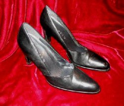 Womens Black Nine West Leather Shoes Pump 8.5 M - $12.50