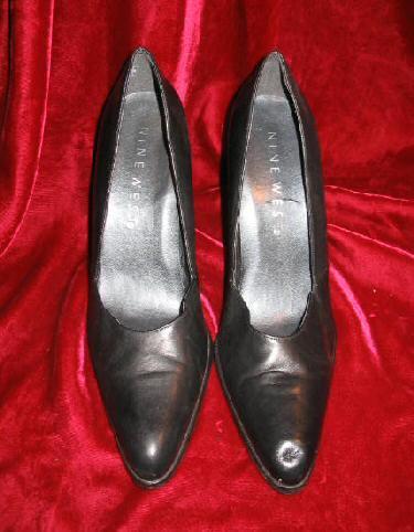 Womens Black Nine West Leather Shoes Pump 8.5 M